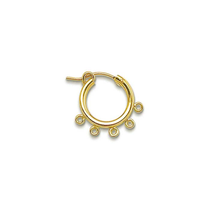 14/20 Yellow Gold-Filled 2 x 15mm Hoop Earring with Five Closed Rings
