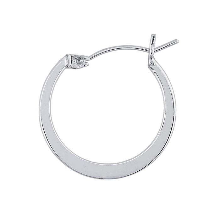 Sterling Silver 1.1mm Tubing Hoop Earrings with Flat Center
