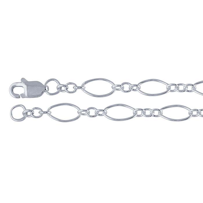 Sterling Silver 3.6mm Oval Long & Short Chains
