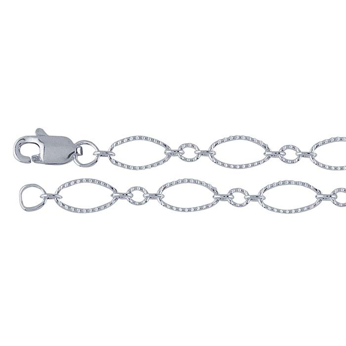 Sterling Silver 3.6mm Patterned Oval Long & Short Chains