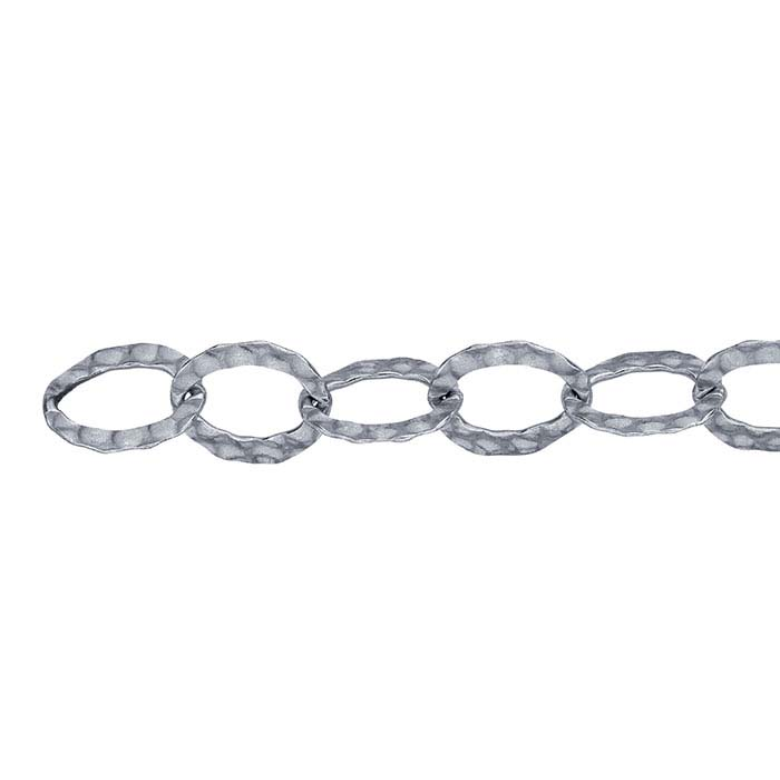 Sterling Silver Oxidized 10.2mm Hammered Flat Oval Cable Chain, By the Foot