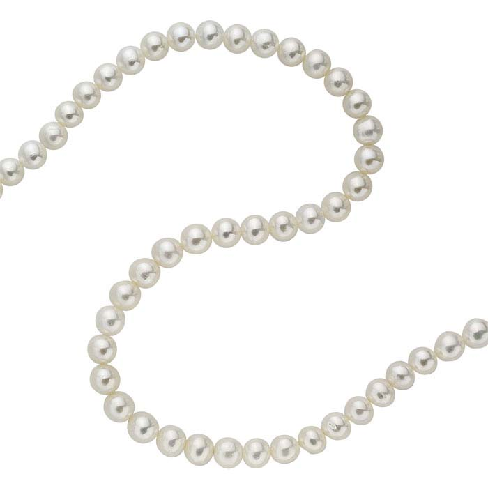 Freshwater Cultured Round Pearl Strands, White, A-Grade