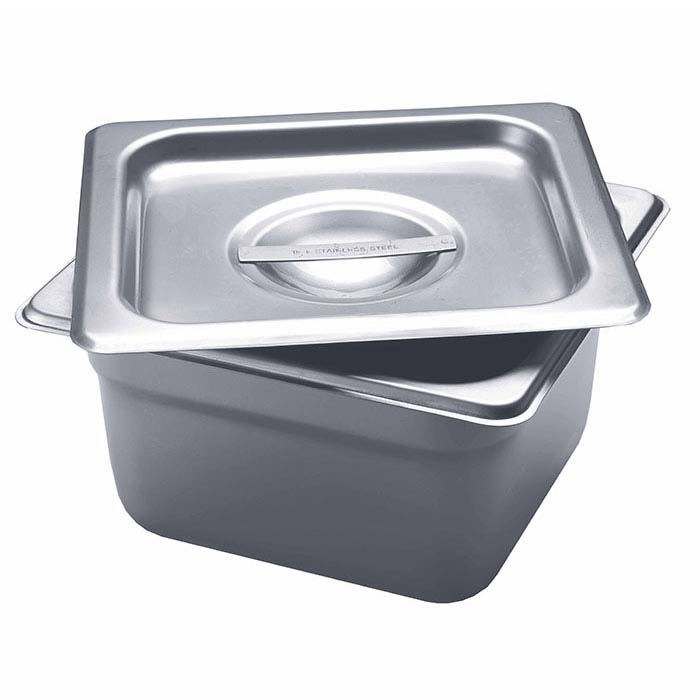 "Stainless Steel Square Firing Pan with Lid, 4""D"
