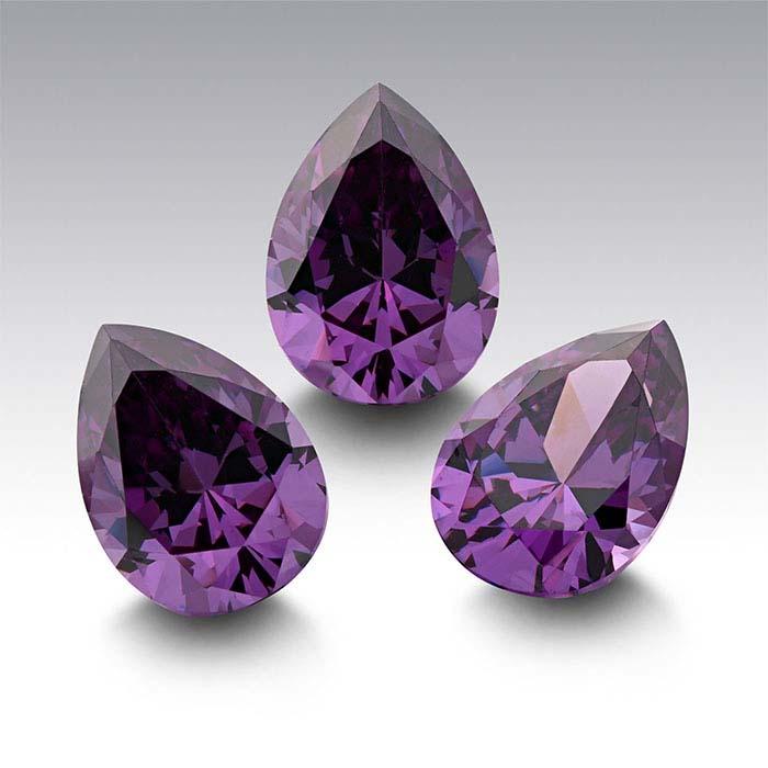 Purple CZ Pear Faceted Stones