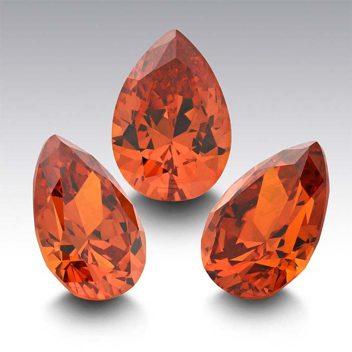 Orange CZ Pear Faceted Stones
