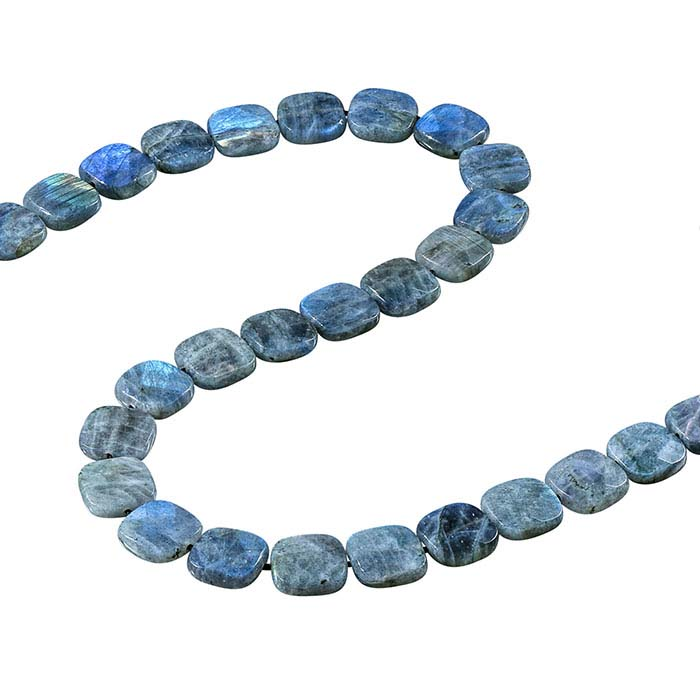 Labradorite 15mm Faceted Cushion Bead Strand