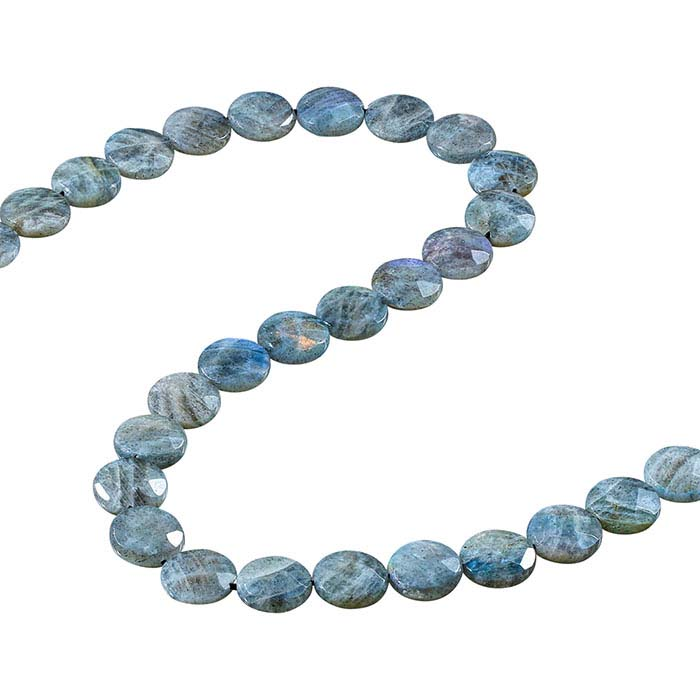 Labradorite 14mm Faceted Coin Bead Strand