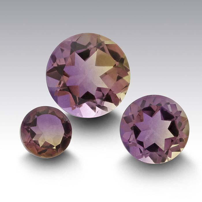 """Ametrine"" Crystal Quartz Round Triplet Faceted Stones"