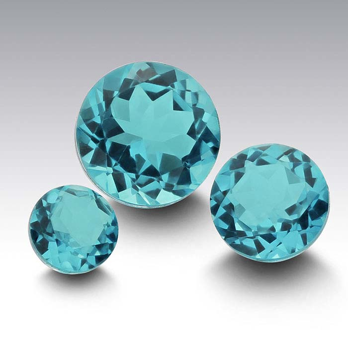 """Paraiba"" Crystal Quartz 6mm Round Triplet Faceted Stone"