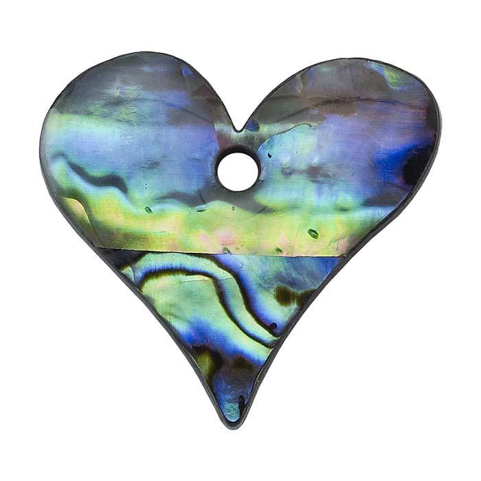 Paua Shell Heart Pendant Component
