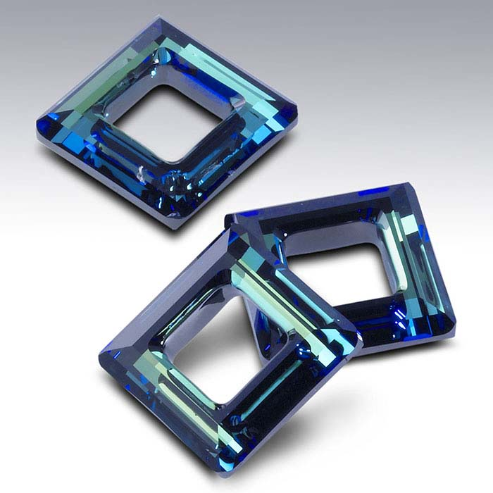 Swarovski® Crystals Square Pendants, Crystal Bermuda Blue Foiled