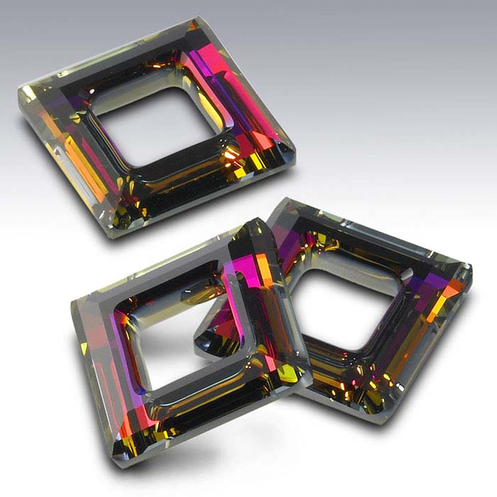 Swarovski® Crystals Square Pendants, Crystal Volcano Foiled