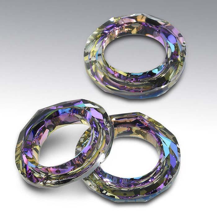 Swarovski® Crystals Cosmic Ring Pendants, Crystal Vitrail Light Foiled