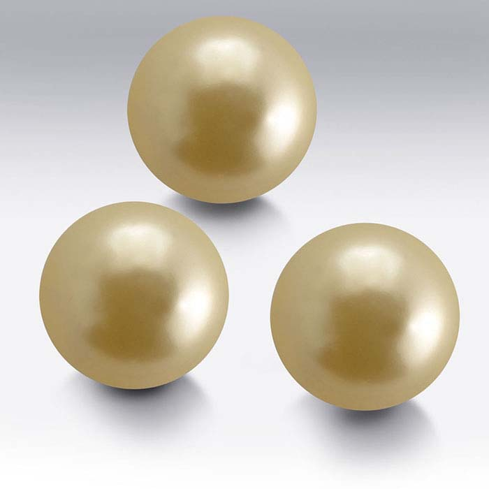 Swarovski® Crystals Round Simulated Pearls, Gold