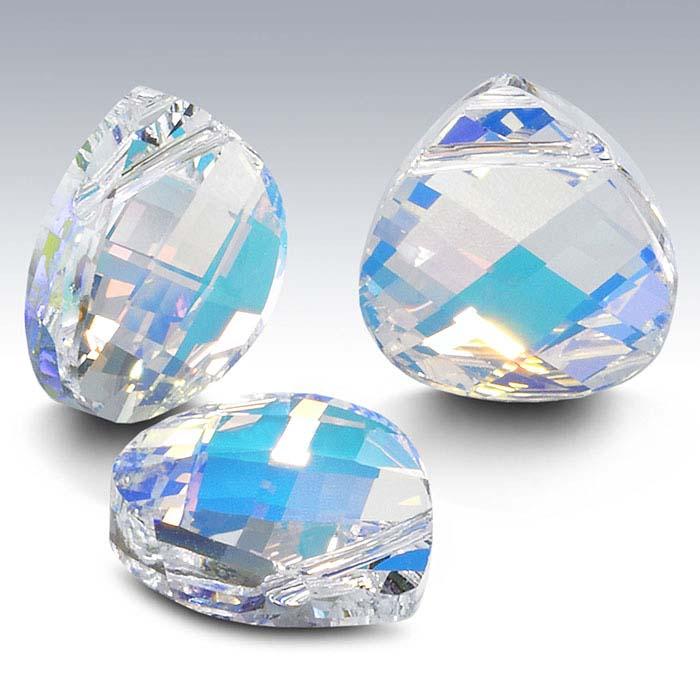 Swarovski® Crystals Teardrop Briolette Pendants, Crystal AB