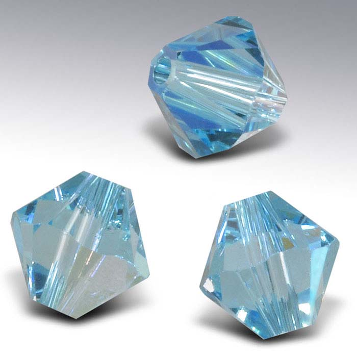 Swarovski® Crystals Tapered Beads, Aquamarine AB
