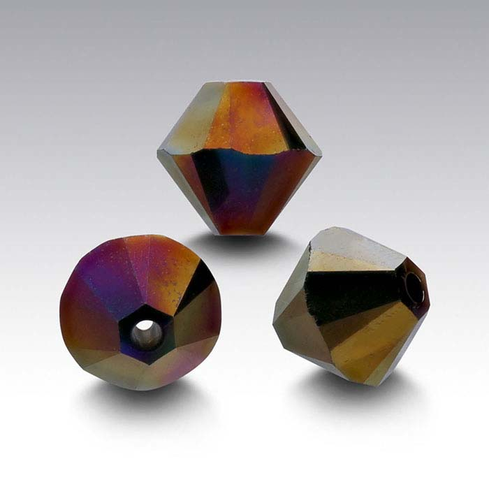 Swarovski® Crystals 6mm Tapered Bead, Crystal Rainbow Dark 2X