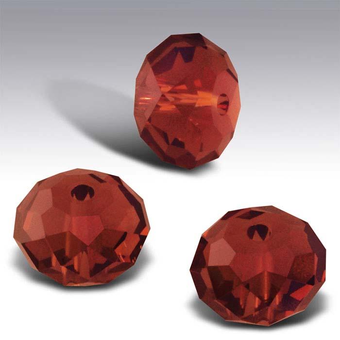 Swarovski® Crystals Saucer Briolette Beads, Crystal Red Magma