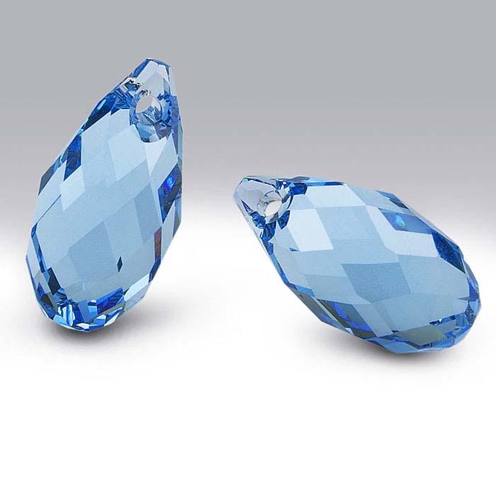Swarovski® Crystals Teardrop Briolette Pendants, Aquamarine