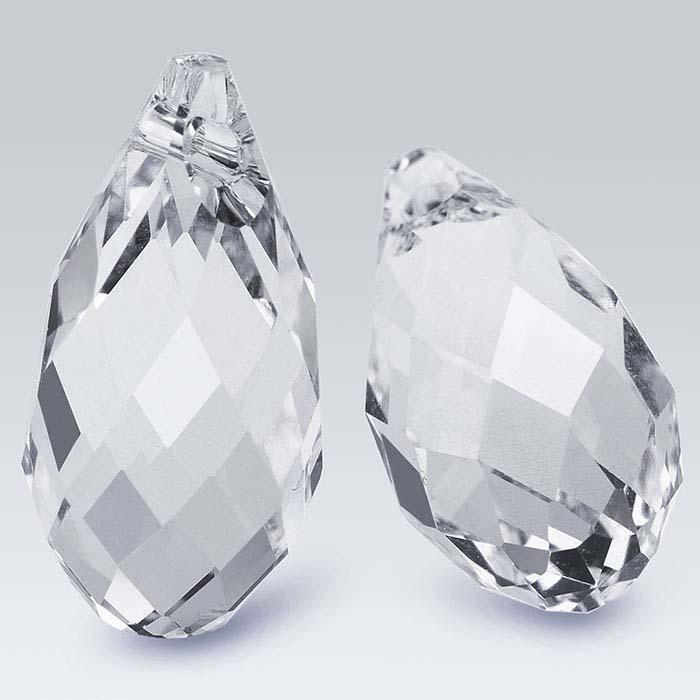 Swarovski® Crystals Teardrop Briolette Pendants, Clear Crystal