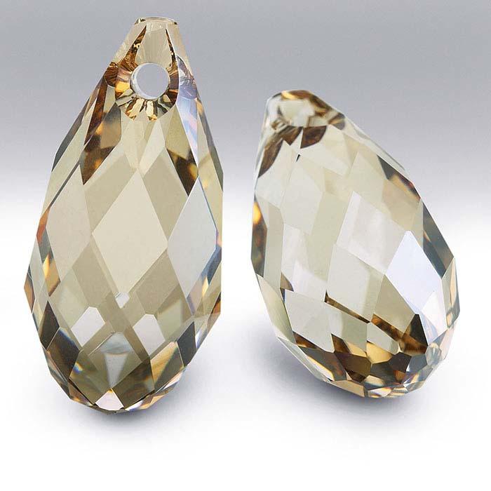 Swarovski® Crystals Teardrop Briolette Pendants, Crystal Golden Shadow
