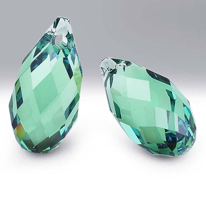 Swarovski® Crystals Teardrop Briolette Pendants, Erinite
