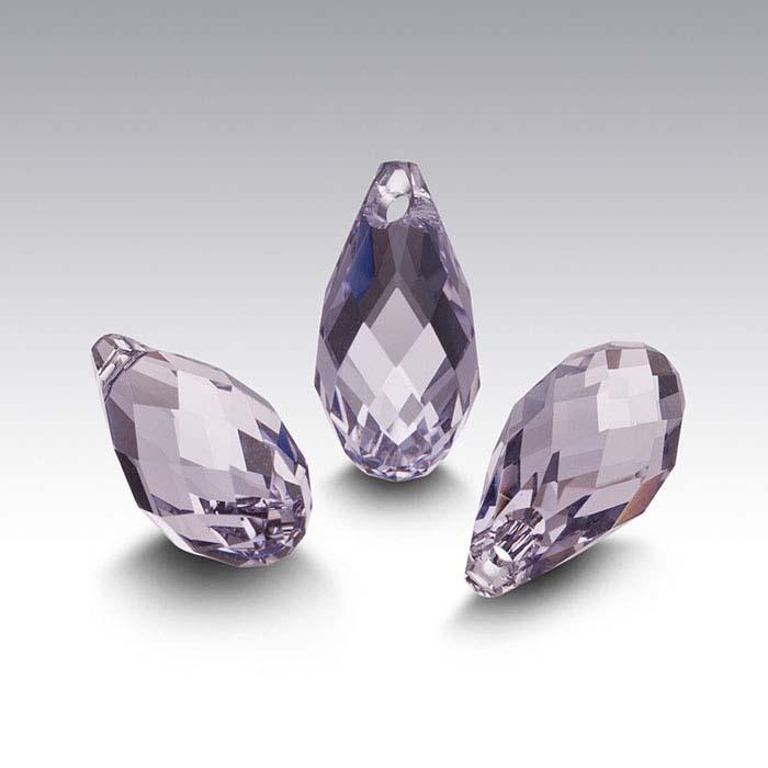 Swarovski® Crystals Teardrop Briolette Pendants, Smoky Mauve