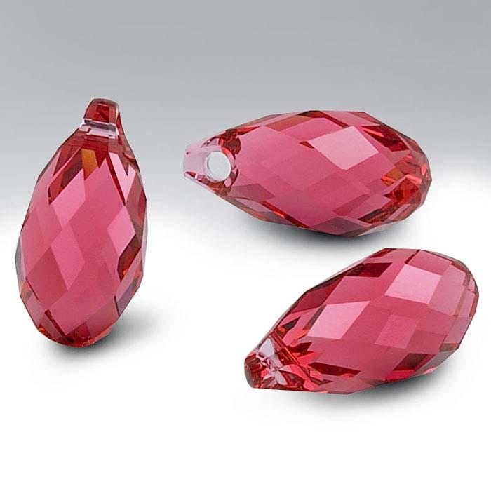Swarovski® Crystals Teardrop Briolette Pendants, Padparadscha