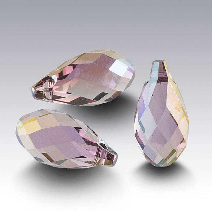 Swarovski® Crystals Teardrop Briolette Pendants, Crystal Lilac Shadow