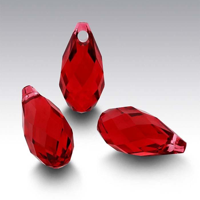 Swarovski® Crystals Teardrop Briolette Pendants, Scarlet