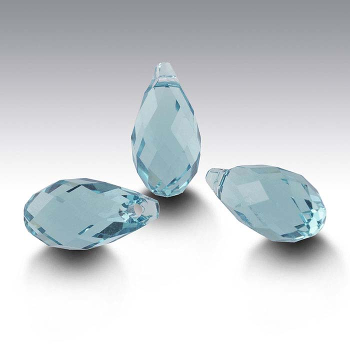 Swarovski® Crystals Teardrop Briolette Pendants, Light Turquoise