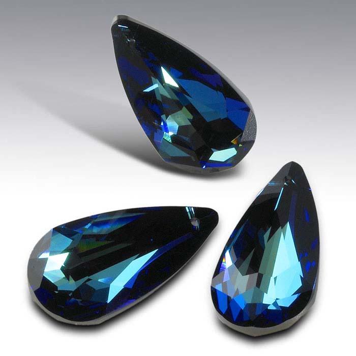 Swarovski® Crystals 24 x 12mm Teardrop Briolette Pendant, Crystal Bermuda Blue Foiled