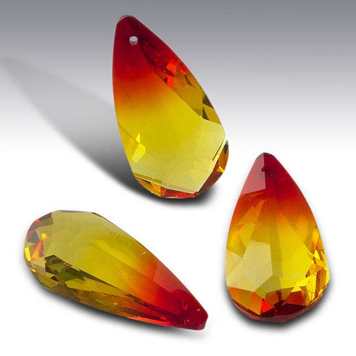 Swarovski® Crystals 24 x 12mm Teardrop Briolette Pendant, Fire Opal