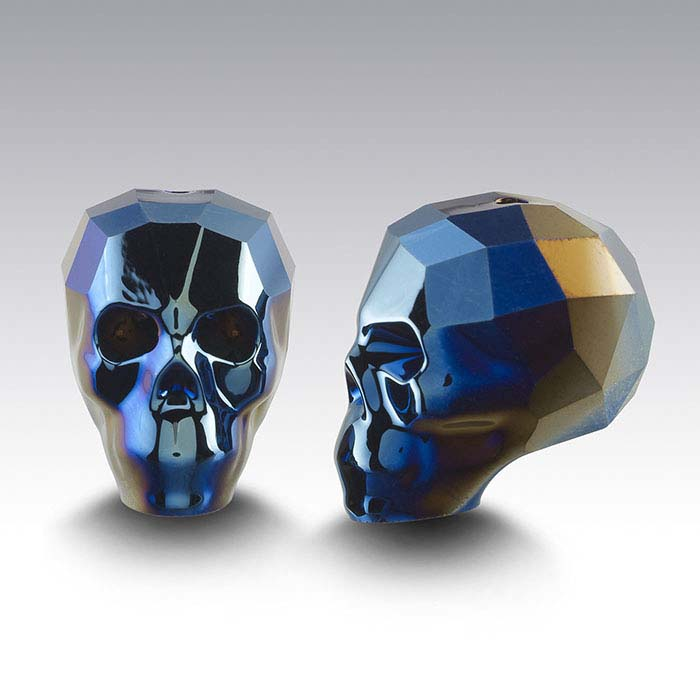 Swarovski® Crystals Faceted Skull Beads, Crystal Metallic Blue 2X