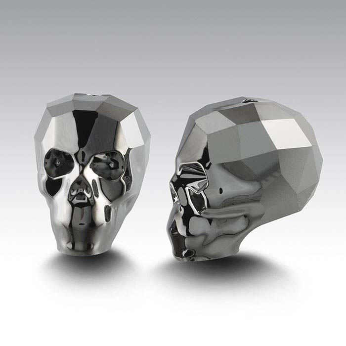 Swarovski® Crystals Faceted Skull Beads, Crystal Silver Night 2X