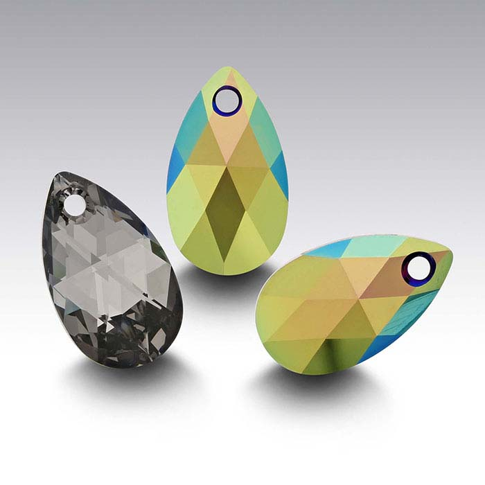Swarovski® Crystals 16 x 9mm Pear Pendant, Crystal Scarabaeus Green