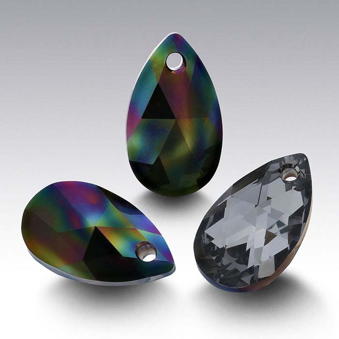 Swarovski® Crystals 16 x 9mm Pear Pendant, Crystal Rainbow Dark