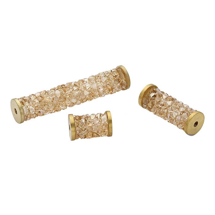 Swarovski® Crystals Fine Rocks Gold-Tone Tube Bead, Crystal Golden Shadow