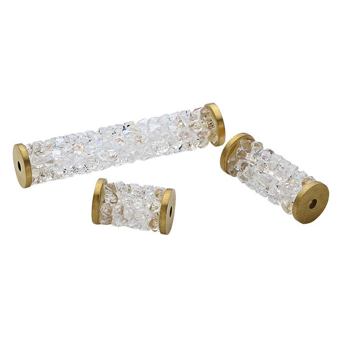 Swarovski® Crystals Fine Rocks Gold-Tone Tube Beads, Crystal Moonlight
