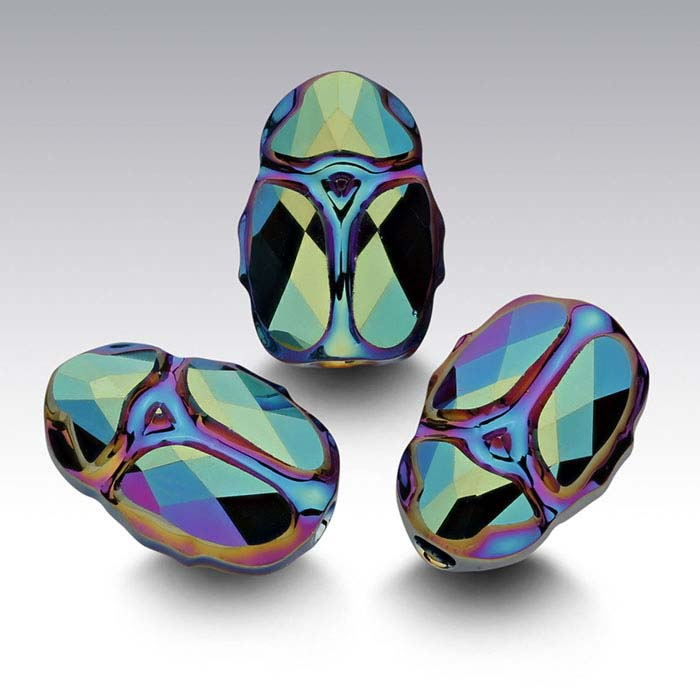 Swarovski® Crystals 12mm Scarab Bead, Crystal Scarabaeus Green