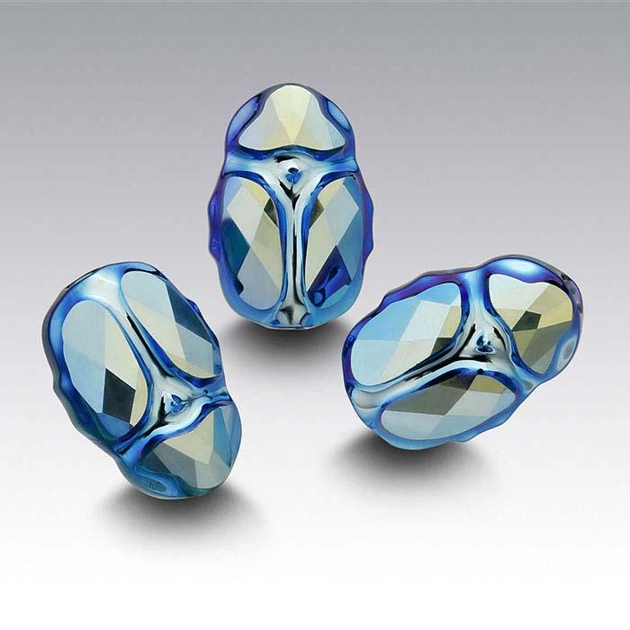Swarovski® Crystals 12mm Scarab Bead, Emerald AB 2X