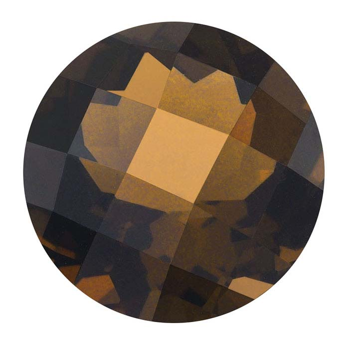 Smoky Quartz Round Checkerboard Faceted Stones, AA-Grade
