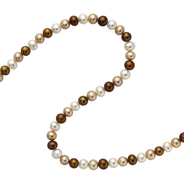 Freshwater Cultured Round Pearl Strands, Chocolate, Gold, and White, A-Grade