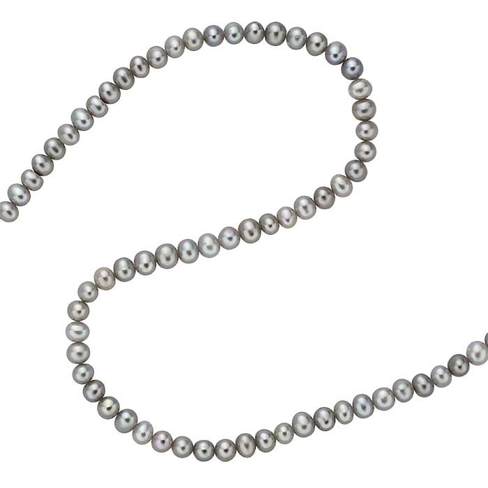 A strand of round grey pearls