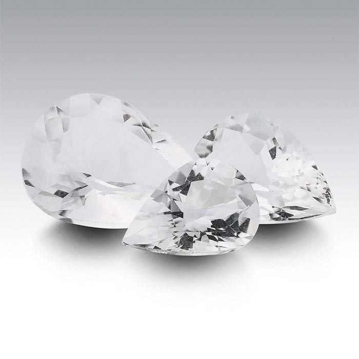 American Mined™ Arkansas Ice Quartz™ Pear Faceted Stones