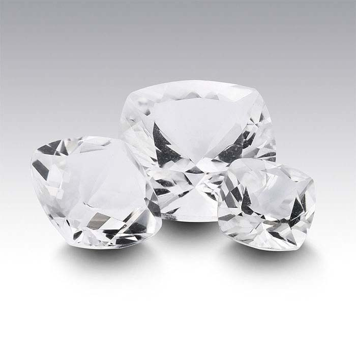 American Mined™ Arkansas Ice Quartz™ Cushion Faceted Stones