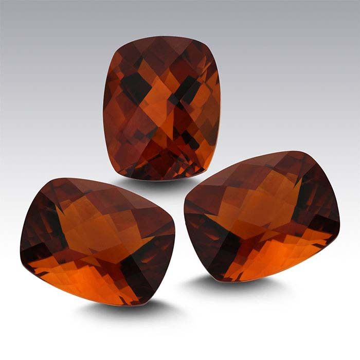 Fire Citrine 10 x 8mm Cushion Checkerboard Faceted Stone, AA-Grade