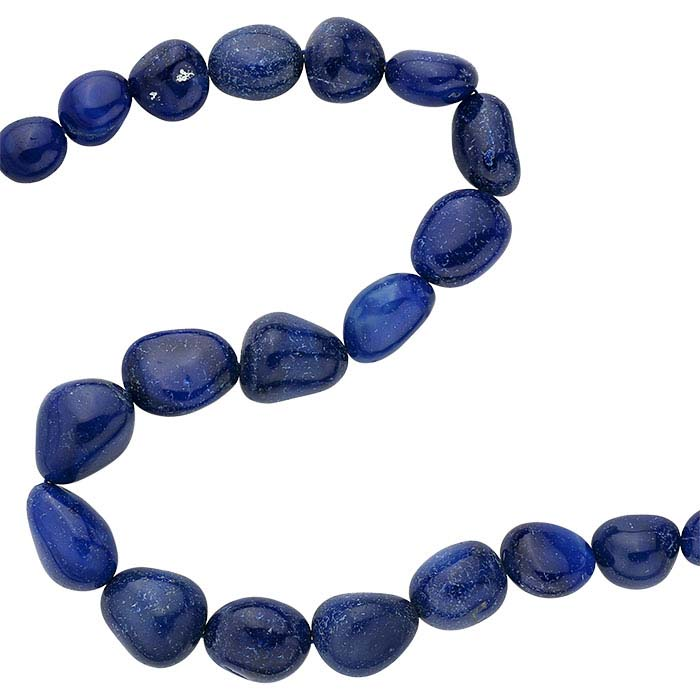 Sapphire-Blue Chalcedony 20 x 15mm Tumbled Nugget Bead Strand