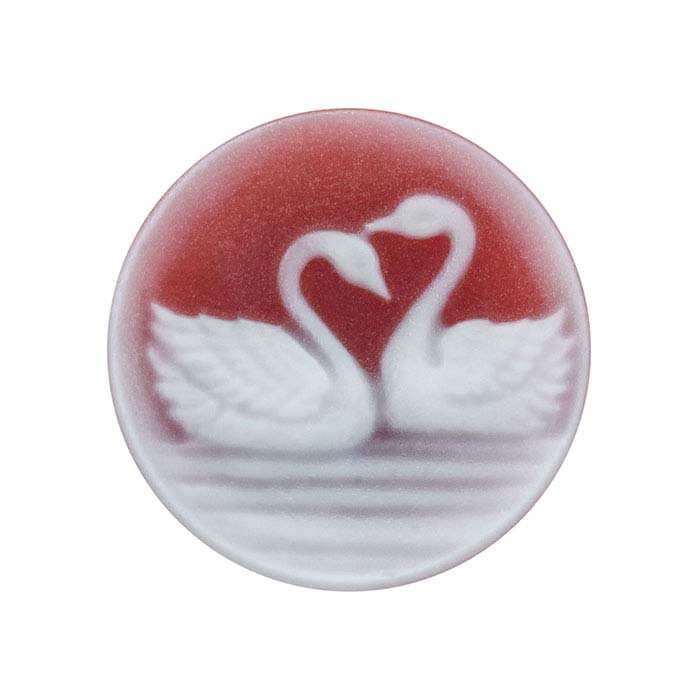 Red Agate 14mm Round Swans Cameo