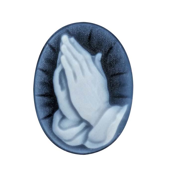 Black Agate Oval Prayer Cameos